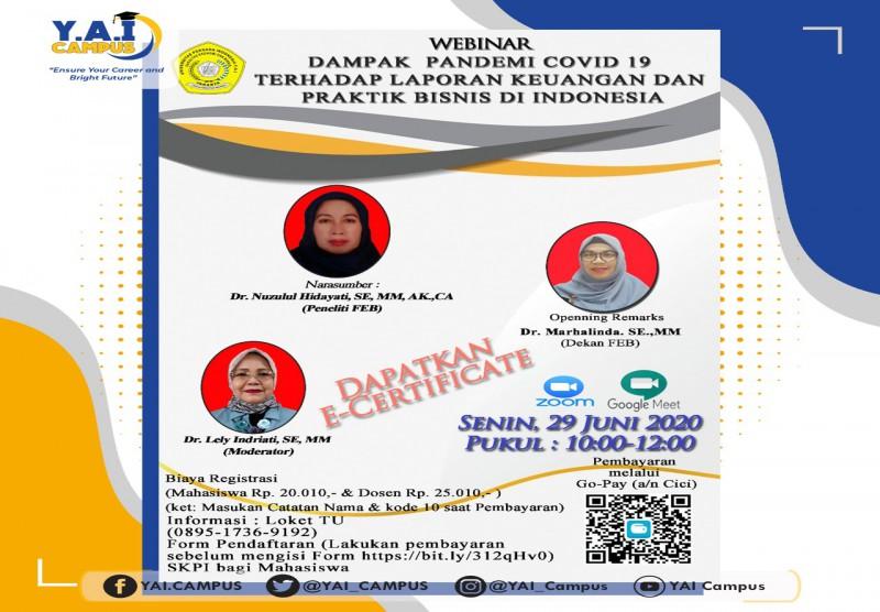 Webinar Dampak Pandemi Covid 19 Terhadap Laporan Keuangan Dan Praktik Bisnis Di Indonesia Yayasan Administrasi Indonesia